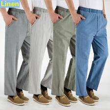 Mens Linen Breathable Straight Leg Elasticated Waist Pants Long Trousers Casual