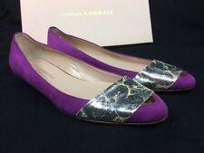 NEW $360 Loeffler Randall Ballerina Flat Purple Suede Vintage Silver Women's 7