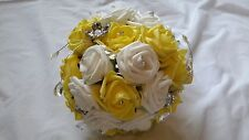 Bride/Bridesmaid Yellow & White Artificial Bouquet