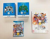 Super Smash Bros Wii U LOT 2 Controllers Metal & Zelda Official Guide & Game NIP
