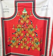 Vintage Fabric Panel A Christmas Gathering Apron Gift Sewing Craft