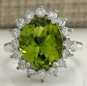 7.59 Carat Natural Peridot 14K White Gold Diamond Ring