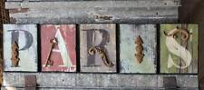 SHABBY FRENCH CHIC PARIS FRANCE WOOD IRON LETTER BLOCKS SIGN PLAQUE WALL DECOR