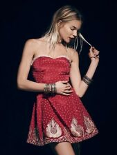 NwoT Free People Very Merry Red Dress W/Gold Embroider Strapless Size 10
