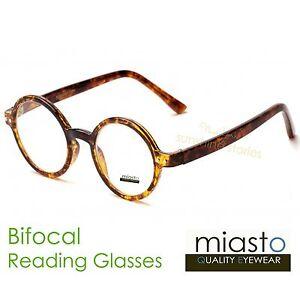"""(2 PAIRS) MIASTO ROUND """"LENNON/ POTTER"""" READING GLASSES+3.00 (BIFOCAL) SMALL"""
