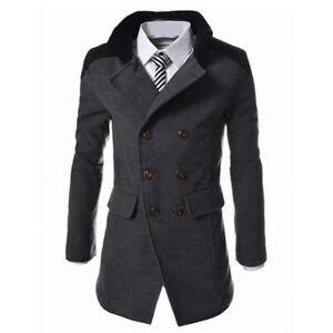 Mens Winter Warm Overcoat Wool Trench Coat Outwear Lapel Business Long Jacket