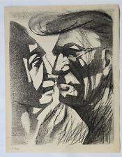 1955 René-Jean CLOT Lithographie originale en noir 1/200 Deux Figures Enfer