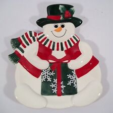Fitz And Floyd Essentials *Holiday Snowman* Canape Plate - Goodies/Appetizers