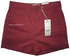 New Womens Marks & Spencer Red Denim High Waisted Shorts Size 14