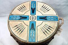 Black Stone Southwest Barrel Style Drum 12 x 12 Red Cedar & Natural Hide Signed
