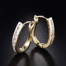 Vintage Retro Yellow Gold Filled U Huggies Diamond Women Wedding Hoop Earrings