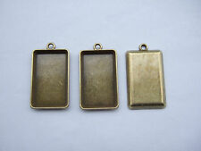 10 Antique Bronze Rectangular Pendant Bezel Trays Cameo Cabochon Setting 15x25mm