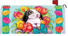 Easter Bunny Tulips Eggs Magnetic Mailbox Cover