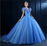 Blue Quinceanera Ball Gown Princess Pageant Party Prom Wedding Dress Custom Size