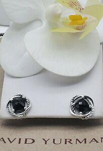 David Yurman Sterling Silver Infinity w/Black Onyx stone Cable Stud Earrings