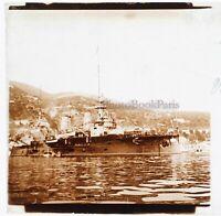 Corazzata Guerre 14-18 Villefranche Francia Foto Stereo PL46Th4n Placca Vintage