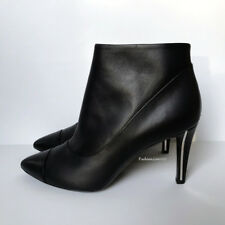 NEW $1225 14P CHANEL BLACK LEATHER SILVER CC ANKLE BOOTS BOOTIES 40 9