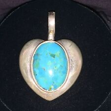 VINTAGE  STERLING SILVER  HEART PENDANT WITH TURQUOISE CABOCHON CENTER STONE
