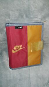 RARE Vintage 90s NIKE Mead Mini Student Binder Planner Book 1994 Red Gold