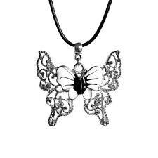 Butterfly Charm Rhinestone Pendant Necklace with Black Cord