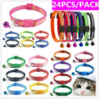x24 Safety Release Cat Collar Bundle Anti Choke Kitten Collars Break Away Collar
