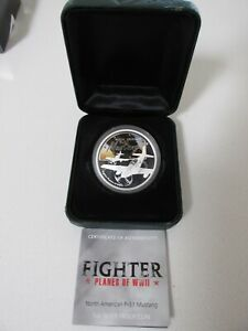 2008 Tuvalu P-51 Mustang 1 Troy Ounce Proof .999 Silver w/Display Case & COA