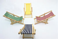1:12 escala plegable de madera tumbona silla de playa para muñecas