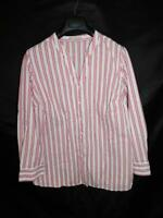 Woman Within 1X 22 24 White Red Pink Striped Shirt V Neck Long Sleeve Button 1XL
