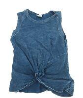 Universal Thread Womens Blue Cotton Denim Acid wash Shirt front Twist Top Size M