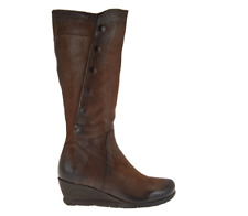 Miz Mooz Tall Leather Wedge Boots Brown Side Zip Marybeth Women's EU41 US 9.5-10