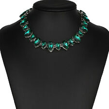 Strass grün Tropfen Glamour Design Kette Halskette Collier Silber plattiert neu