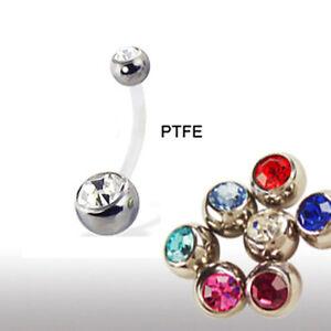 PTFE-Stab Mini Bauchnabel Piercing mit Doppelkristall Kugel 4+6mm zuschneidbar