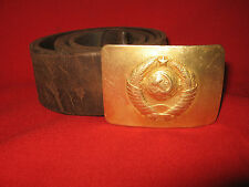 Russian Militsia (Police) Leather Belt With The Brass Buckle. 1950th Stalin Era.