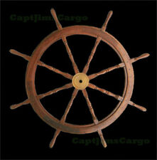 "Teak Wooden Ships Steering Wheel 48"" Helm Nautical Boat Maritime Decor New"