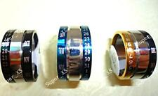Spin Calendar Men Women Stainless Steel Ring Blue Black Gold Sliver Jewelry BFP