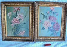 deux tableaux huile sur panneau bouquet de fleurs 19 /20 ème signé F Villemus