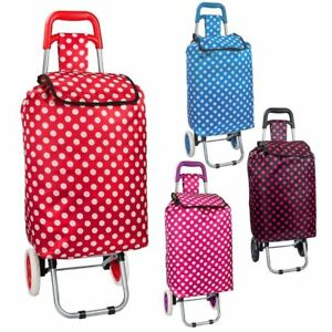 Shopping Trolley Bag 4 Design Colour Blue Pink Red Black Polka Dots two Wheeled