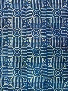 Indigo Blue Cotton Block Print Accent Area Dhurrie Rug Woven Weave Indian Carpet