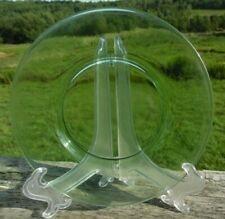 "Green Depression Glass 4 Dessert Plates Vintage 8"""