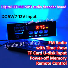 DC 5V 12V LED Remote Control MP3 Decoder Board TF USB FM Radio U-Disk AUX F CAR