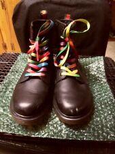 Dr. Martens 1460 Black Boots w/ Rainbow Stitching & Laces Airwair Sz M 4 / L 5