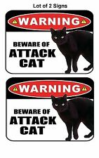 """2 Count PCSCP """"Beware of Attack Cat"""" 9 x 11.5 Laminated Funny Sign"""