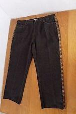 Coldwater Creek Woman Embellished Jeans Sz 20W Black Soutwestern Seam Inlays