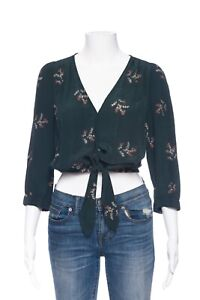 MADEWELL Green Silk Floral Wrap Blouse Small Crop Top Tie Front Shirt V-Neck