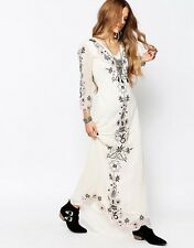Glamorous Festival V Neck Casual Maxi Dress in Cream UK 6/EU 34/US 2