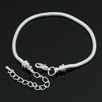 NEW Silver Plated Snake Chain European Charm Bracelet With Adjustable Chain