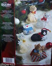 Bucilla CHRISTMAS KITTIES Felt Cat Ornament Kit Factory Direct Kitten VERY RARE