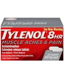 Tylenol 8 HR Muscle Aches and Pains, 24 Count No box