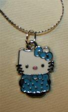 Delightful Small Blue & White Hello Kitty Childs Silvertn Pendant Necklace ++++