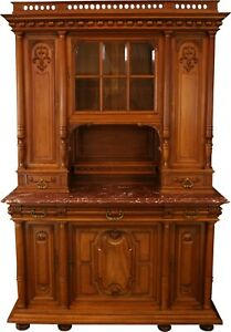 1900 FRENCH RENAISSANCE BUFFET  ELEGANT CARVED WALNUT  MARBLE  GLASS PANE D